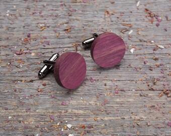 Wood Cuff links, Round Purpleheart wooden cufflinks, Wedding Cufflinks set, groomsmen gift set, groomsmen, customized, monogrammed cufflink