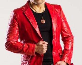 Mens Leather Stylish Red Coat designed by DD BESPOKE STUDIO