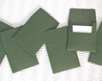 36+ teeny tiny envelope note card sets handmade herbal garden green mini miniature square party favor weddings stationery guest book