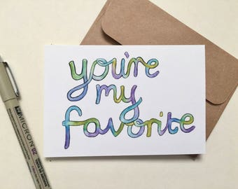 You're My Favorite Card - Greeting Card - Blank Card - Love Card - Note Card - Valentine's Card - Pack Set of 5
