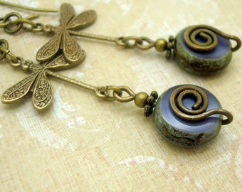 Purple Dragonfly Earrings with Czech Glass Coin Beads in a Boho Style