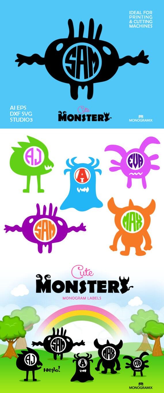 Monstruos lindo monograma Marcos monogramas de círculo Ai