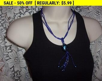 vintage blue bead pendant necklace, hippie necklace