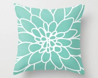 Dahlia Pillow  - Mint Green - Modern Flower Accent Pillow - Flower Decorative Pillow - Designer Home Decor - By Aldari Home