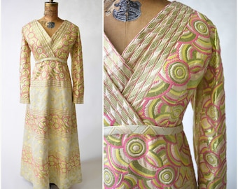 60s Elinor Simmons for Malcolm Starr Gold & Pink Brocade Maxi Gown // Old Hollywood Glamour, Evening Dress, Elegant Formal Wear