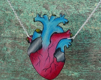 anatomical tattoo style heart necklace in bright blood red, pink and blue with silver plated chain