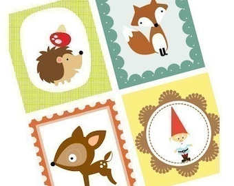 Woodland Creatures - (1x1) One Inch (25mm) Square Images - Printable Digital Collage Sheet  - Buy 2 Get 1 Free - Instant Download Images