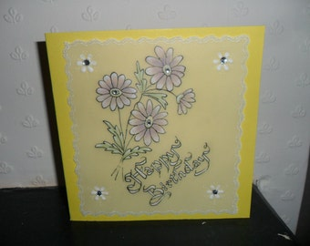 Chrysanthemums, Parchment Card, suitable for lots of occasions, birthday, anniversary,get well,thank you,handmade,flowers,