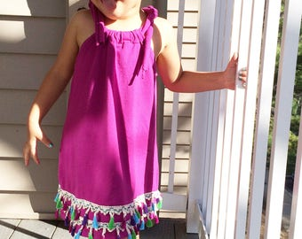 Baby/ toddler girl summer dress with tassel trim • Made to order •
