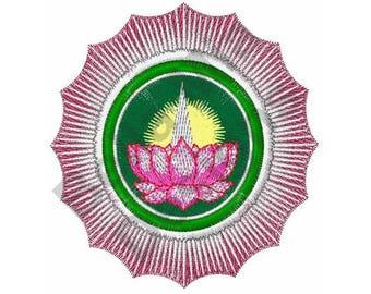 Logo Of Ayyavazhi - Machine Embroidery Design, Flower, Lotus Flower