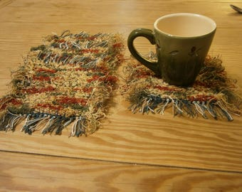 Handwoven Mug Rugs, Coasters made from Recycled Cotton Afghan Selvage in Shades of Green, Tan, and Cranberry