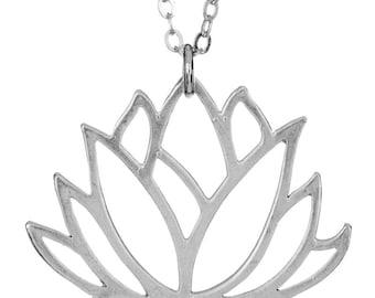 Lotus Cutout Silver Necklace