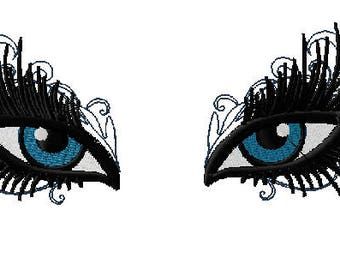 Glamorous Make Up Eyes Machine Embroidery Design with Optional Eyebrows