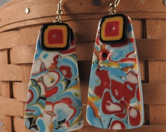 Retro square polymer clay dangle earrings