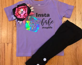 Insta Babe holographic tee