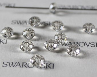6 pieces Swarovski Elements 5040 6mm RONDELLE Spacer Beads - Crystal Silver Shade