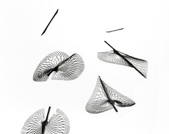 Kinetic Metal Art, Modern Mobile in skeleton leaf shape, Wire art, Polished stainless steel hanging mobile  by Expand Life