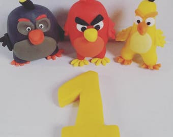 Angry Birds cake topper, Handmade cake topper, 3D fondant AngryBirds cake topper, Angry Birds birthday party
