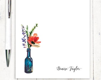 Personalized Notepad - personalized stationary - stationery - poppy flower - letter writing paper - Watercolor Flowers in BLUE WINE BOTTLE