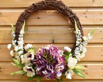 Flower wreath, housewarming wreath, purple wreath, floral display, front door wreath, floral wreath, home decor, artificial flowers, floral