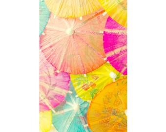 Asian Paper Umbrellas Print,  Nursery Decor, Umbrella Still Life Photography, Orange, Yellow, Pink