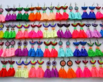 Tassel Earrings 20pcs+ Assorted Colors Festival Earrings BOHO Bling Jewelry Hmong Embroidered Jewelry Drop Earrings Wholesale Jewelry