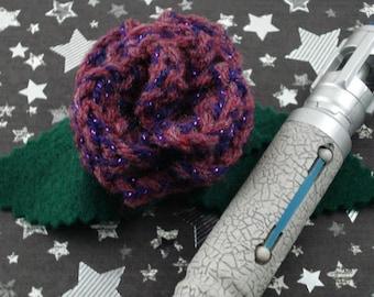 Martha Jones - Crocheted Rose Hair Barrette - Dark Pink and Purple (SWG-HB-DWMJ01)