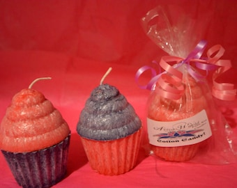 Cotton Candy Palm Wax Cupcake Candles, valentines candles, cupcake candle, cotton candy candle, cotton candy scent, bakery candles, aziza