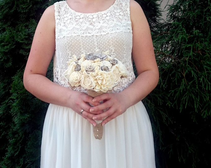 Ivory gray rustic wedding bridesmaid BOUQUET organic sola Flowers burlap lace pearls vintage wedding brown small toss eco