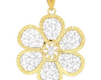 14k solid gold two tone flower pendant. floral jewelry, flower.