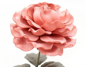 Pink Leather Rose Large Third Wedding Stem Leather Flower Valentine's Day 3rd Leather Anniversary Ninth 9thAnniversary Gift