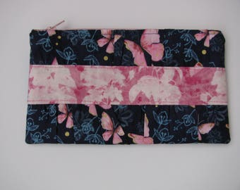Pink Butterfly Gathered Clutch Purse