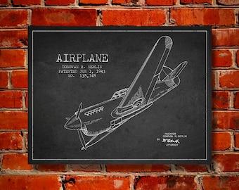 1943 Airplane Patent, Canvas Print, Wall Art, Home Decor, Gift Idea