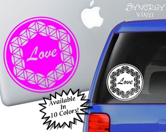 Flower of Life Love Decal | Sacred Geometry Sticker | Spiritual Decal | Laptop Sticker | Car Sticker | Window Sticker