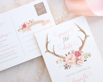 Rustic Save the Date Postcard - Summer Wedding Save the Date - Floral Antler Rustic Wedding Save the Date - Blush Wedding Save the Date