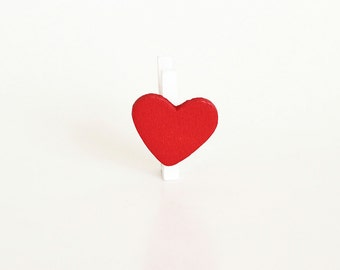 10 pcs White wooden mini clothespins with red hearts - Valentines Day