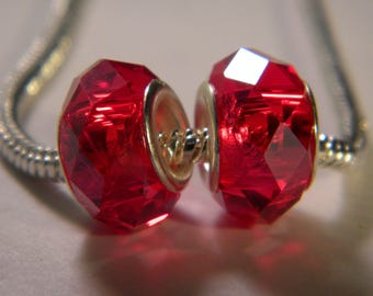 bead charm European-14 x 10 mm red-C37 faceted glass