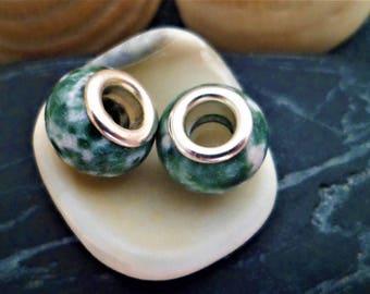 2 Greenspot natural gemstone Charms, beads European big hole 12 mm