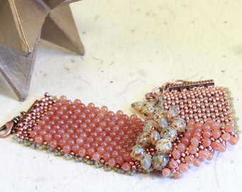 Speckled Eggs -  -woven cuff bracelet