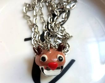 Jingle Bell Reindeer Necklace — Novelty Christmas Jewelry — Polymer Clay Rudolph — Novelty Jingle Bell Necklace — Festive Holiday Jewelry