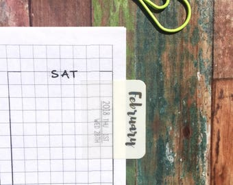 Planner 2018 Monthly Tabs, Bullet Journaling Monthly Tabs, Self Adhesive Tabs