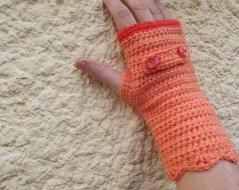 Orange crochet mittens