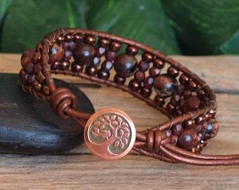 Red Jasper Seed Bead Cuff Bracelet, Red Copper Beaded Leather Cuff, Poppy Jasper Bracelet, Natural Stone Bohemian Jewelry, Gift For Her