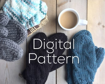 Knitted Chunky Cable Mitten Pattern