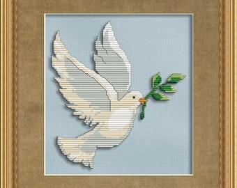 Cross Stitch Pattern Peaceful Dove Instant Download PdF