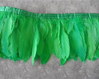 googe feather fringe trim 5-7inch wide 2 meters of green color