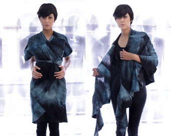 Boiled Wool Cardigan, Felt Wool Shawl, Felt Wool Cape, Wool Dress, felted wool poncho, felted clothing, Ana Livni