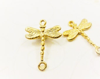 Vermeil, 18k gold over 925 sterling silver dragonfly connector, matte gold dragonfly connector, vermeil dragonfly