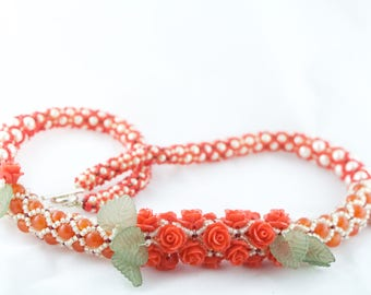 Flower Necklace, Rose and Carnelian, Tubular Netting Necklace