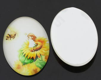 Glass pattern small girl and sunflower 40x30mm oval CABOCHON